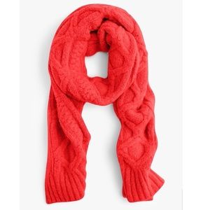 J. Crew Red Loopy Scarf Cable Knit Oversized Wool
